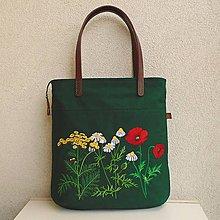 Veľké tašky - Keprová tmavozelená taška na veľ. A4 / lúčne kvety 2 - 11745206_
