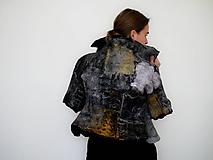Kabáty - Dámsky vlnený kabátik čierno-žltý - 11748253_