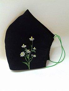 """Rúška - Ľanové maľované rúška zo série """" Herbár """", rôzne vzory (rumanček) - 11746753_"""