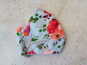 Rúška - Vtáčiky a ruže na modrej, rúško - 11747161_