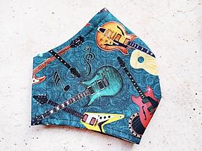 Rúška - Dizajnové gitarové rúško pre rockera, 1ks hneď k odberu - 11747968_