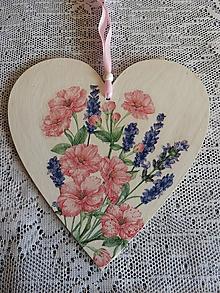 Drobnosti - Dekorační srdíčko Květy s levandulí - 11749499_
