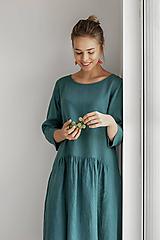 Šaty - Riasené ľanové šaty Martina 3/4 rukáv - 11747961_