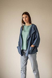 Kabáty - Ľanový kardigán Spring Azul - 11750074_