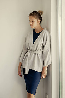 Kabáty - Ľanové sako Kimono - 11750332_