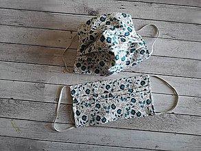 Rúška - Dvojvrstvové rúško tyrkysové kvety - 11748026_