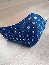 Rúška - Modrotlačové rúško 2-vrstvové na vkladanie  tvarované - 11749446_