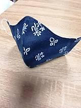Rúška - Modrotlačové rúško 2-vrstvové na vkladanie  tvarované - 11749470_