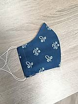 Rúška - Modrotlačové rúško 2-vrstvové na vkladanie  tvarované - 11749474_