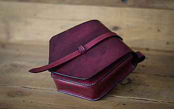 Iné tašky - Kožená kapsa na opasok (mahagón) - 11747167_