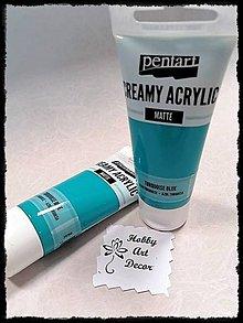 Farby-laky - Akrylová farba krémová matná tyrkysová 60 ml - 11746426_