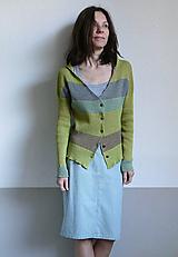 Svetre/Pulóvre - zelený sveter pásikový - 11746696_