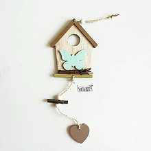 Polotovary - Závesná dekorácia, domček, motýľ - 11752489_