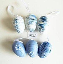Polotovary - Veľkonočné vajíčka, plastové, sada 6 ks (modro-biele žíhané) - 11753442_