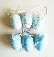 Polotovary - Veľkonočné vajíčka, plastové, sada 6 ks (modro-biele kvetinkové) - 11753480_