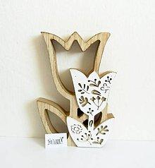 Polotovary - Drevená dekorácia, tulipán, 18 cm - 11753674_
