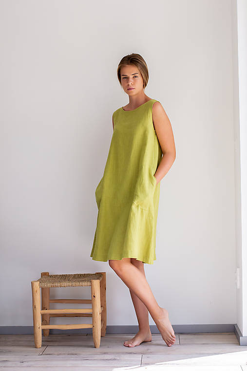 Šaty - Ľanové šaty Bodky - 11754872_
