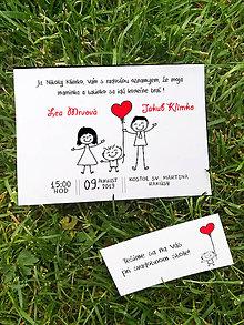 Papiernictvo - Svadobné oznámenie s kreslenými postavičkami - 11754526_
