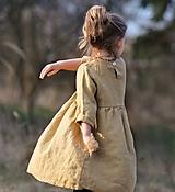 Detské oblečenie - Lněné šatičky pískové (92) - 11754340_
