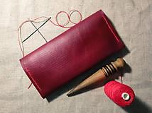 Peňaženky - Veľká dámska kožená peňaženka Pirula (Červená) - 11751320_