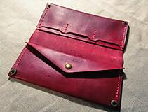 Peňaženky - Veľká dámska kožená peňaženka Pirula (Červená) - 11751321_