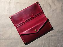 Peňaženky - Veľká dámska kožená peňaženka Pirula (Červená) - 11751324_