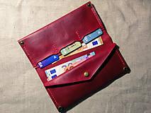 Peňaženky - Veľká dámska kožená peňaženka Pirula (Červená) - 11751329_
