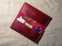 Peňaženky - Veľká dámska kožená peňaženka Pirula (Červená) - 11751332_
