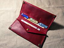 Peňaženky - Veľká dámska kožená peňaženka Pirula (Červená) - 11751356_