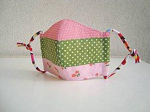 Rúška - !! ZĽAVA !!! Bavlnené rúško trojvrstvové detské 3-6 rokov (ružovozelená patchwork 2) - 11753086_