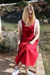 Sukne - Ľanová sukňa na traky - 11753631_