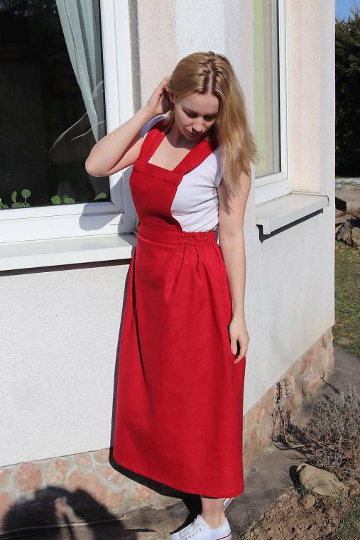Ľanová sukňa na traky
