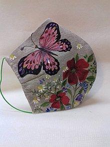 """Rúška - Ručne maľované ľanové rúška """" Lúčne kvietky a trávy """" - rôzne varianty (prírodná , kvietky a motýľ) - 11757576_"""