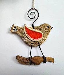 Dekorácie - Dekorácia na zavesenie - Vtáčik z keramiky - 11757191_