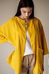 Kabáty - Ľanový kardigan Spring žltý - 11758618_