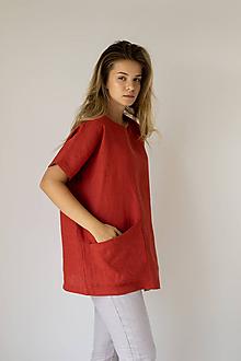 Tuniky - Ľanová tunika Eliza s krátkym rukávom - 11758651_