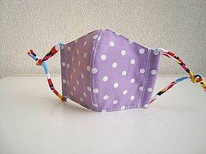 Rúška - !! ZĽAVA !!! Bavlnené rúško trojvrstvové detské 3-6 rokov (fialová bodky) - 11757136_