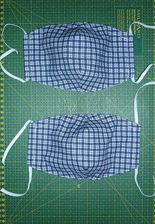 Rúška - Rúško bavlnené trojvrstvové (modrý štvorec) - 11760539_