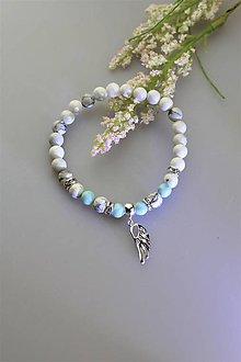 Náramky - larimar,magnezit náramok luxusný s anjelským krídlom zo striebra - 11762221_