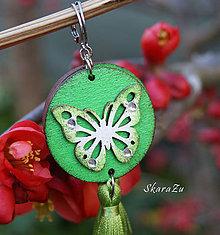 Náušnice - Motýliky v zelenej - 11761534_