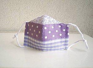 Rúška - !! ZĽAVA !!! Bavlnené rúško trojvrstvové detské 3-6 rokov (fialová patchwork) - 11760925_