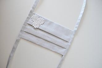 Rúška - Sivé rozkvitnuté rúško - 11760023_
