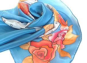 Šatky - Modrý šátek s růžemi. - 11764741_
