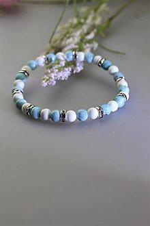 Náramky - larimar a perleť náramok luxusný - 11763386_