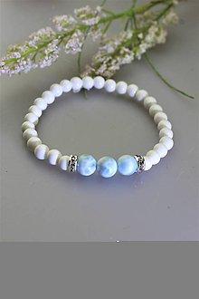 Náramky - luxusný náramok larimar a perleť - 11763414_