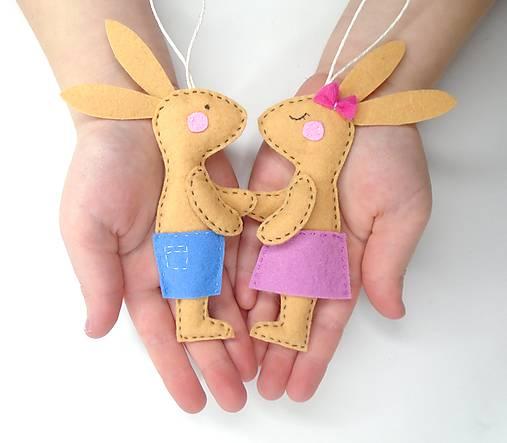 Dekorácie - Zajačik, zajačica - 11764032_