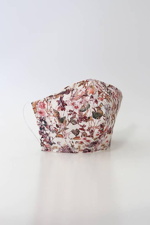 Dámske ružové kvetinové ľanové rúško dvojité