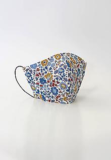 Rúška - Kvetinové dámske ľanové rúško dvojité - 11763635_