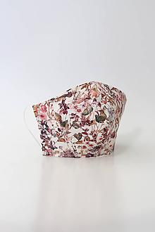 Rúška - Dámske ružové kvetinové ľanové rúško dvojité - 11763687_