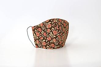Rúška - Dámske ľanovo bavlnené kvetinové rúško - 11763868_